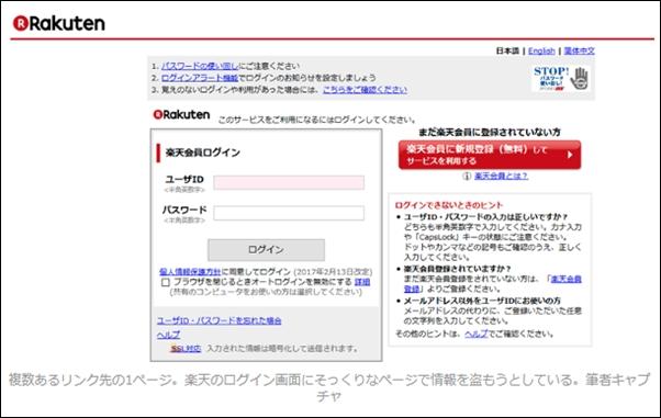 楽天のログイン画面を装った偽造サイト