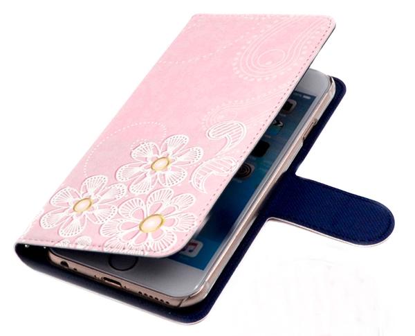 ピンクで花柄の可愛いスマホカバー 手帳型